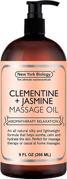 Buy New York Biology Clementine and Jasmine Massage Oil - 100% Natural Ingredients - Sensual Body Oil Made with Essential Oils for Muscle Relaxation and Deep Tissue - 9 oz (INSTOCKS) Singapore
