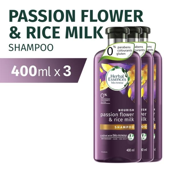 Buy [Bundle of 3] Herbal Essences Nourish Passion Flower & Rice Milk Shampoo 400ml Singapore