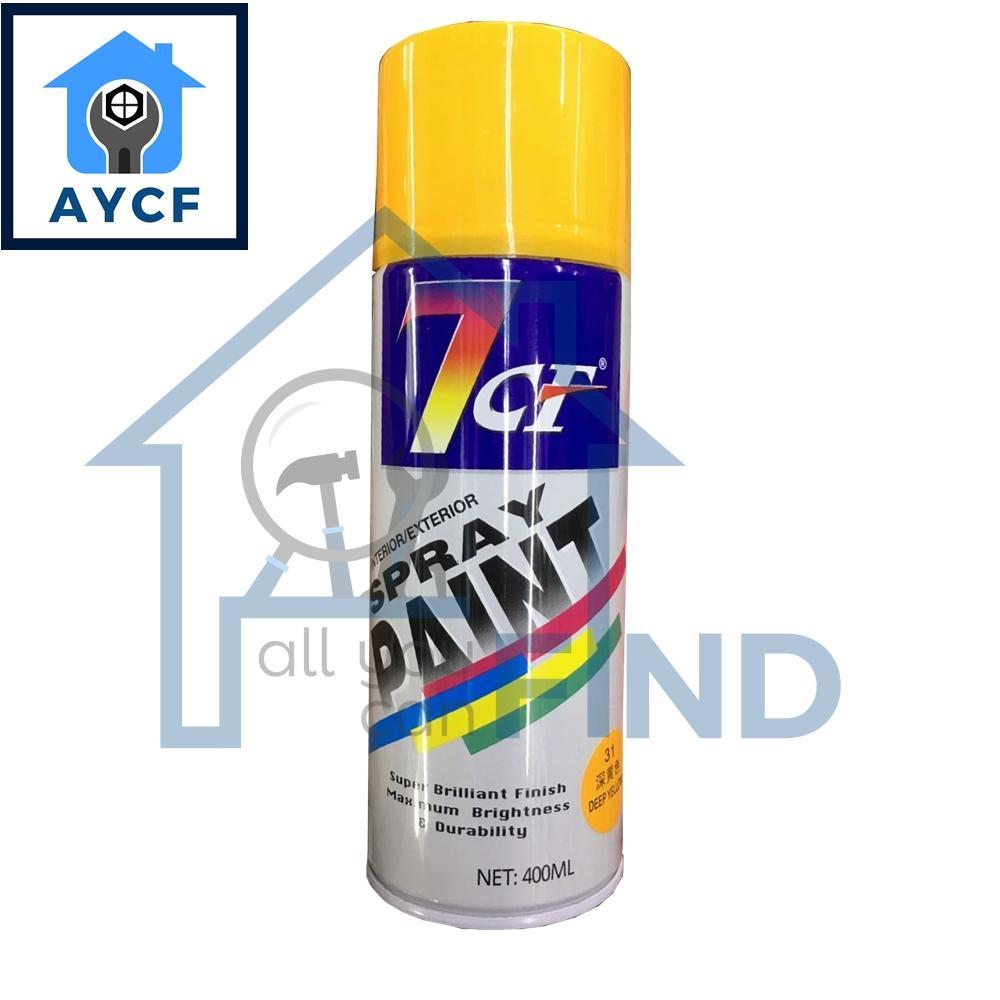 (BUNDLE OF 12) 7CF Interior / Exterior Spray Paint 400ml - Deep Yellow