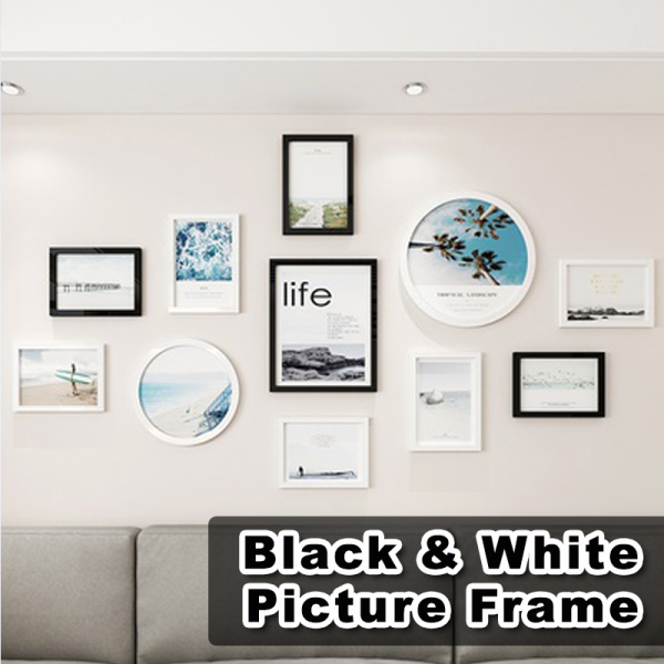 Black, White & Wood Premium Picture Frame Set / Photo Wall Art Decoration / Home Decoration for Living Room Bedroom Dining Room