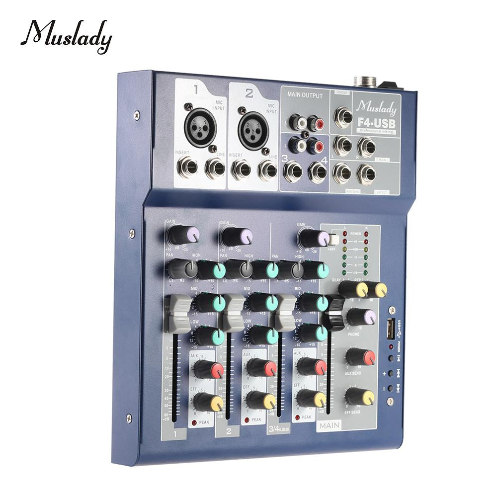 Muslady F4 Professional Metal 4 Channel Live Mixer Mixing Console 3-Band EQ USB Function 48V Phantom with Bulit-in Effect Processor Mic Input
