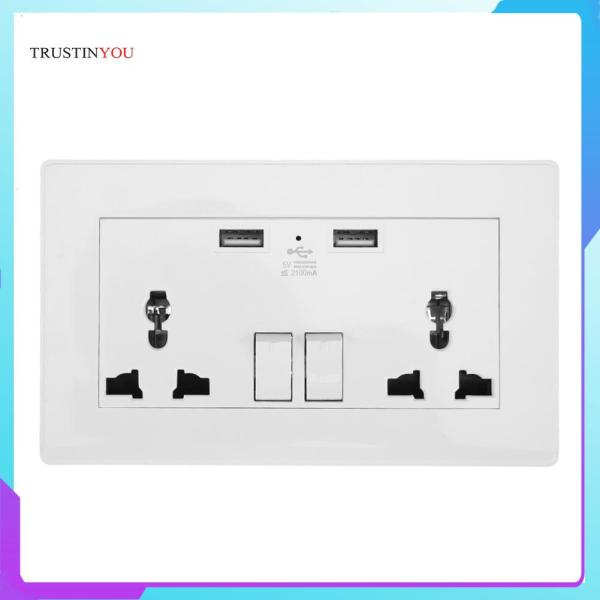 [trustinyou]2.1A Wall Socket Dual USB Port Power Adapter Outlets Panel - intl