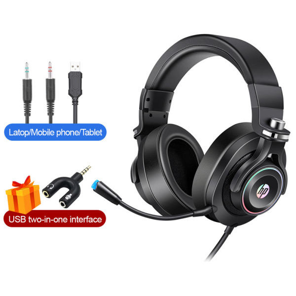 HP H500GS 7.1 2.1 Gaming Headset Stereo Gamer Headphone With Mic Microphone RGB Light For PC Laptop
