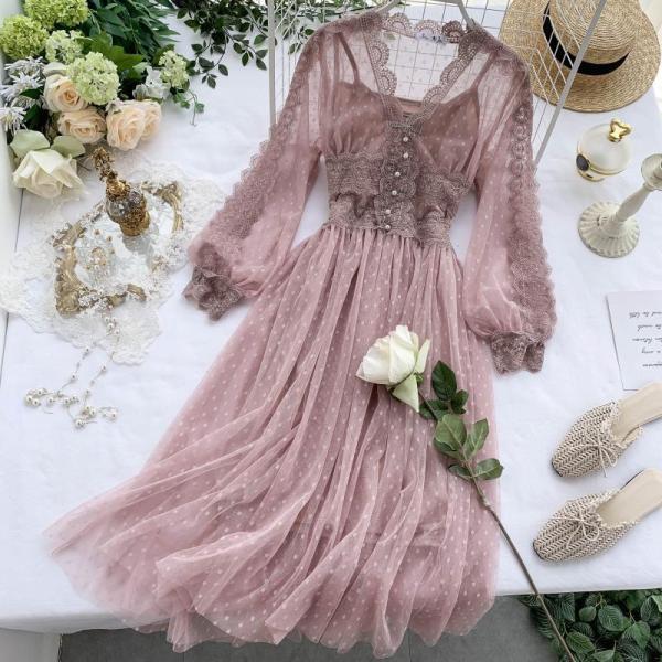 Mùa Thu Năm 2020 Mẫu Mới Voan Lưới Mềm Váy Dài Chic Gió Nhẹ Nhàng Váy Cổ Tích Ngọt Ngào Dáng Dài Khí Chất Đầm