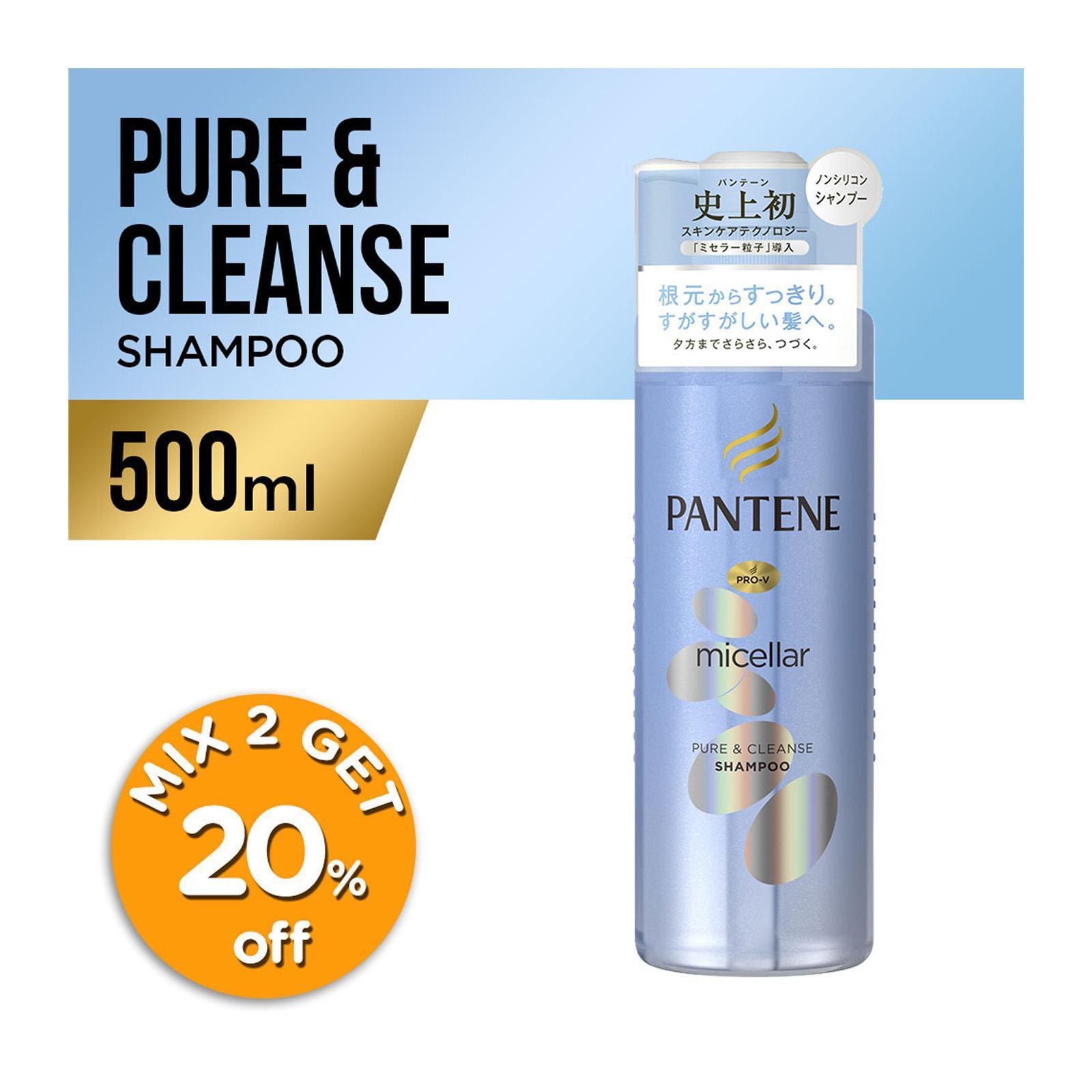 Pantene Micellar Water Pure & Cleanse Shampoo, 500ml
