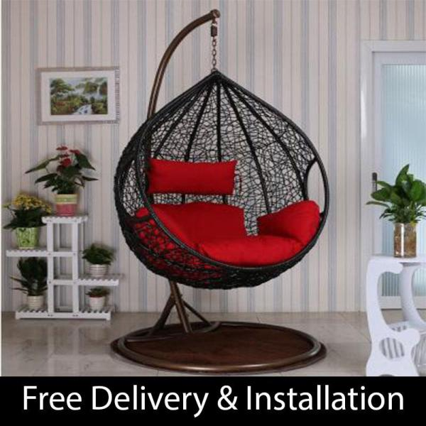 Home Factor Swing Chair with cushions S817 Black(Outdoor Seating / Swing Chair)  (Free Delivery & Installation) - Balcony Swing chair/Relax Chair/ Lounge Chair/Outdoor Furniture (SG)