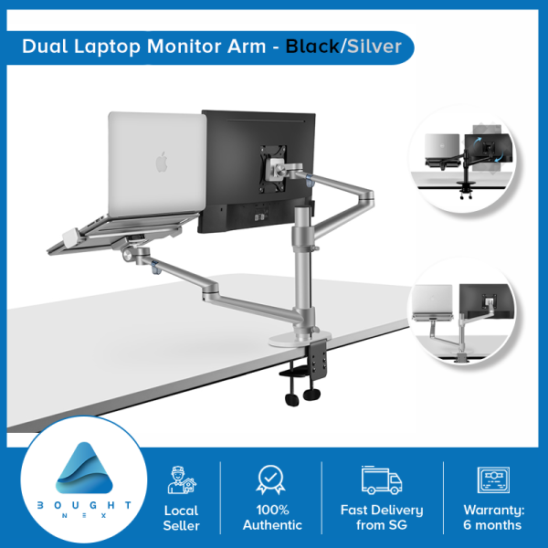 Aluminum Height Adjustable Desktop Monitor Laptop Dual Arm 17-32 inch Monitor Holder 12-17 inch Office Stand Up Desk Mount
