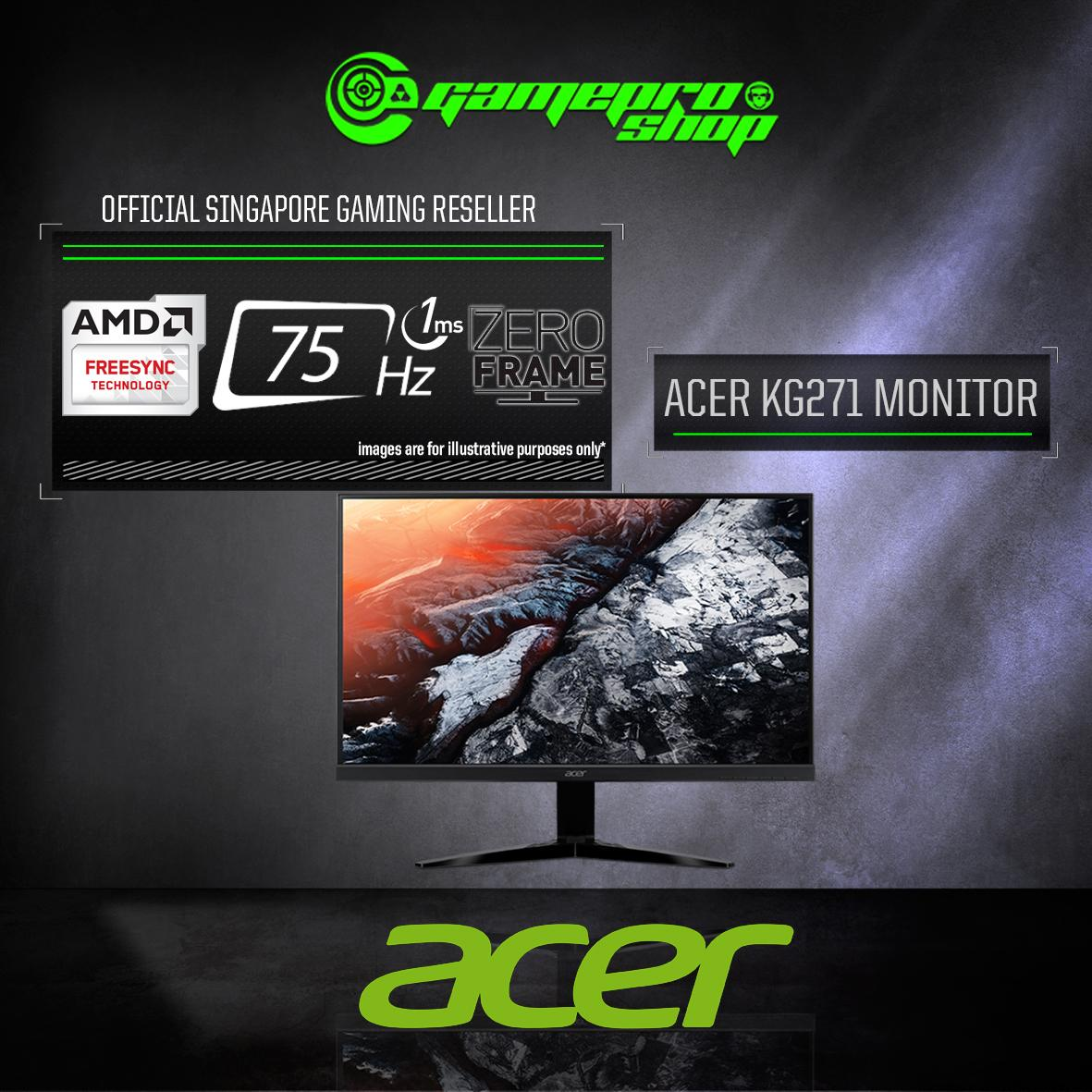 "Acer KG271 27"" (16:9) Full HD Monitor with 75Hz Refresh Rate and 1ms High Response time (FreeSync)  *10.10 PROMO*"