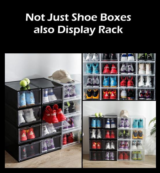 [4 Boxes Sale] Premium Quality BIG Capacity AJ Stackable Sneakers Shoe Storage Box Shoe Rack Boxes