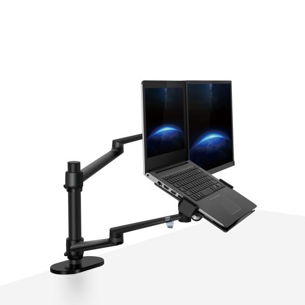 2-In-1 Dual Monitor Arm & Dual Laptop Arm [Pro Series] VESA Monitor Arm Desk Mounts Aluminum Desk Arm Stand/Holder [Dual Monitor Arm + Laptop Holder]
