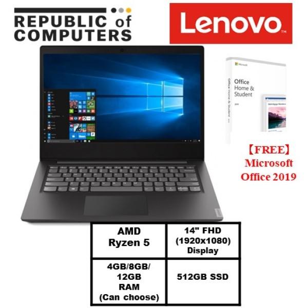 【FREE Microsoft Office 2019】Lenovo ideapad S145-14.0 FHD 1920*1080/ AMD Ryzen 5 (4cores,3.7Ghz) | 4GB / 8GB/12GB RAM (Optional)/ 512GB PCIe SSD /Win10 Home/ 1 Year Lenovo warranty