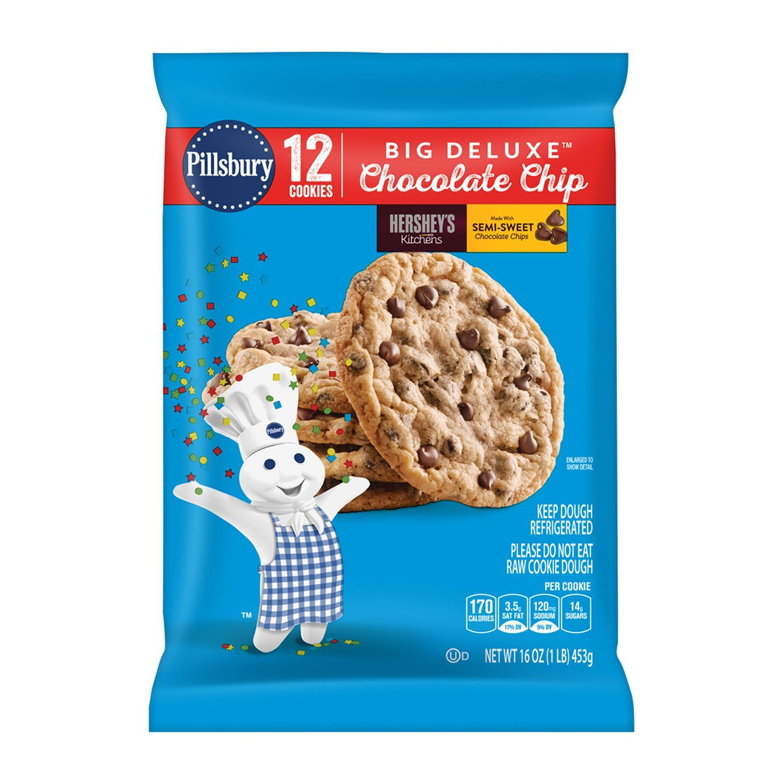 Pillsbury Ready To Bake Chilled Big Deluxe Chocolate Cookies With Hersheys Mini Kisses By Redmart.