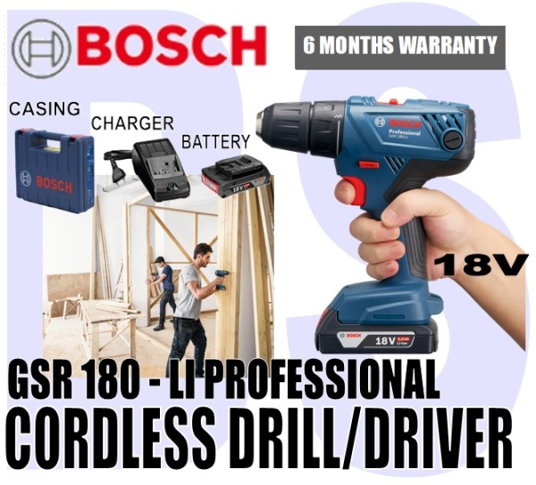 [BIRTHDAY SALE] BANSOON BOSCH Cordless Drill/Driver 18V (GSR 180-Li Professional) comes with 2 battery & 1 charger