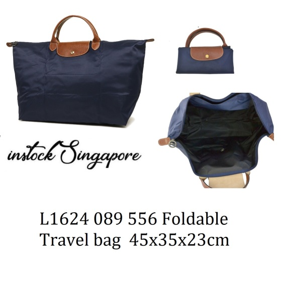 Authentic NEW Longchamp Le Pliage Travel Bag Large 1624 navy foldable