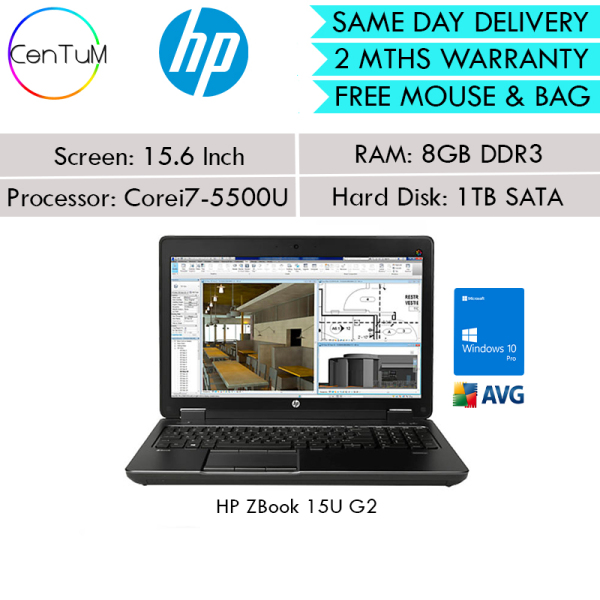 [Same Day Delivery] Refurbished HP ZBook 15U G2 15.6 Inch Mobile Workstation Core i7-5500U / 8GB / 256GB SSD / Win10 Pro Notebook Laptop [Extended Warranty Up to 24 Months]