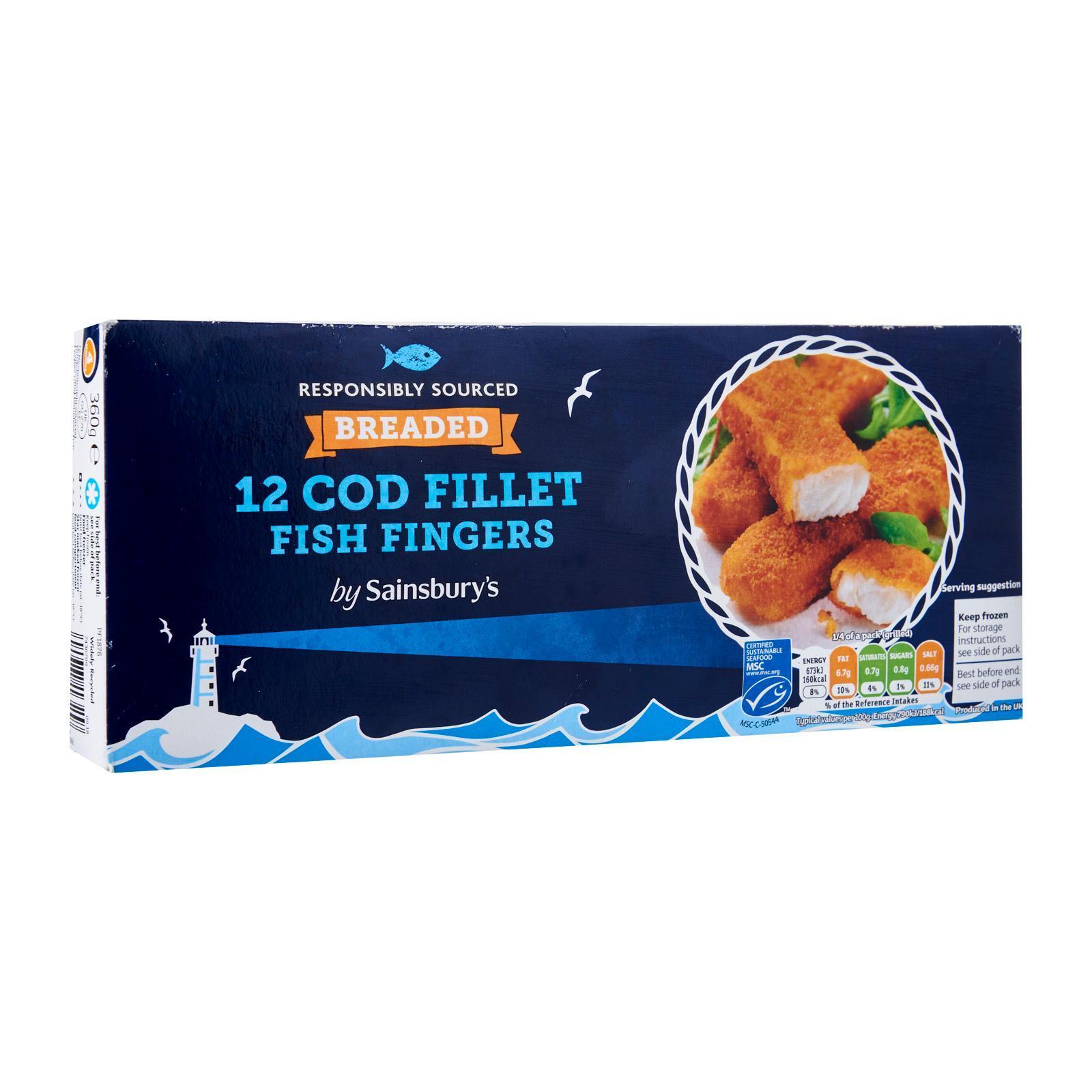 Sainsbury's Breaded Cod Fish Fingers - Frozen