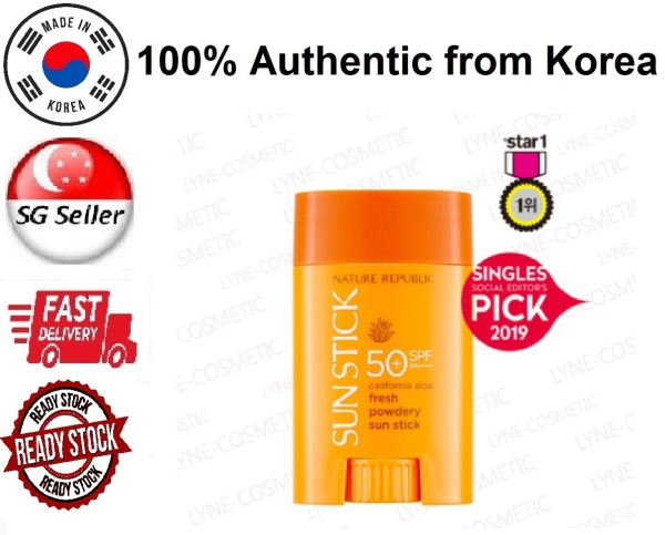 Buy *NATURE REPUBLIC* CALIFORNIA ALOE FRESH POWDERY SUN STICK SPF50+ PA++++ (22G)  SG SELLER *FAST DELIVERY* WATERPROOF FACE SUNSCREEN *PROTECTION FROM HARMFUL UVA & UVB RAYS* - 100% AUTHENTIC BY BEAUTY BESTIE - MADE IN KOREA Singapore