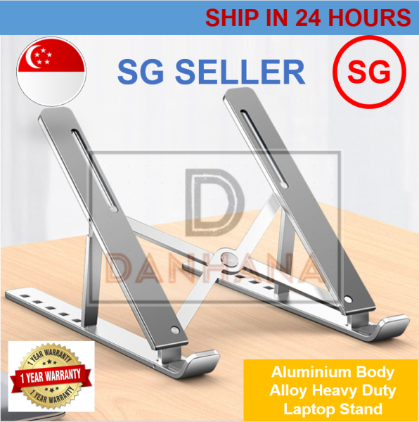 [SG Ready Stock]Laptop Stand Foldable Portable Adjustable Real Aluminium Macbook Compatible Ergonomic Eye Level Relief Neck Back Pain Alloy Light Weight Non-Slip Air Flow Cooling Notebook Computer Desktop Holder Riser Bracke Height Fits Warranty