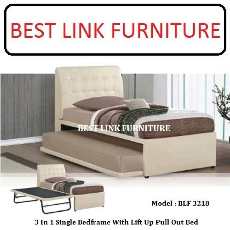 BEST LINK FURNITURE BLF 3218 3 In 1 Single Bedframe With Lift Up Pull Out Bed