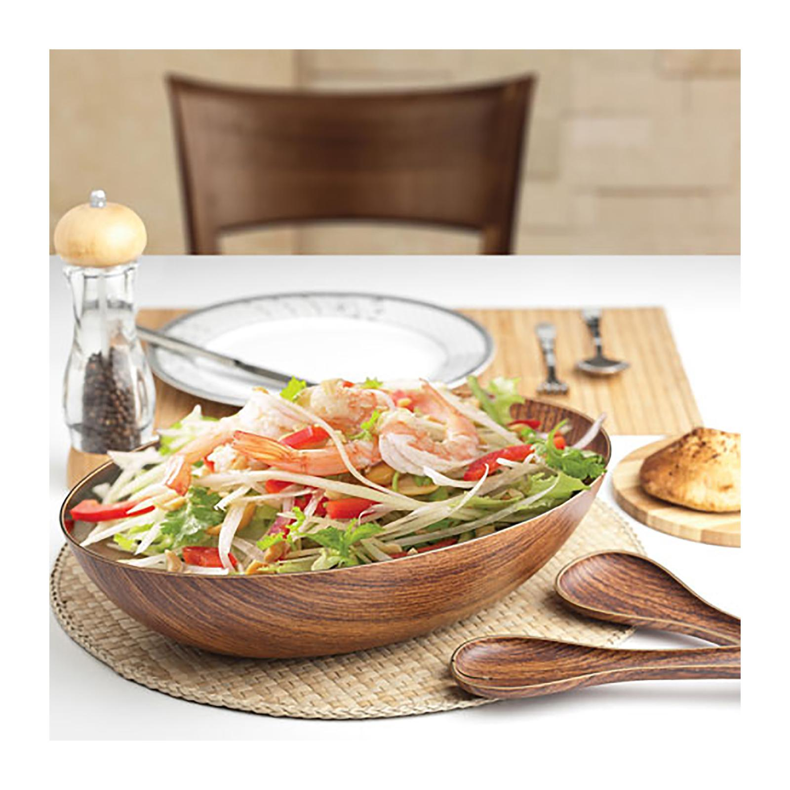 Evelin Polystyrene Salad Bowl And Server Set With Wood Finish - By ToTT