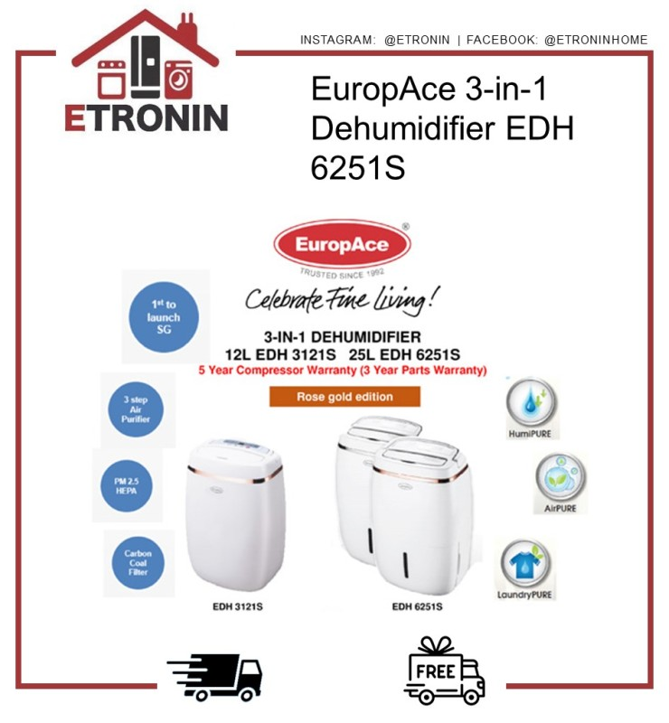 EuropAce 3-in-1 Dehumidifier EDH 6251S Singapore
