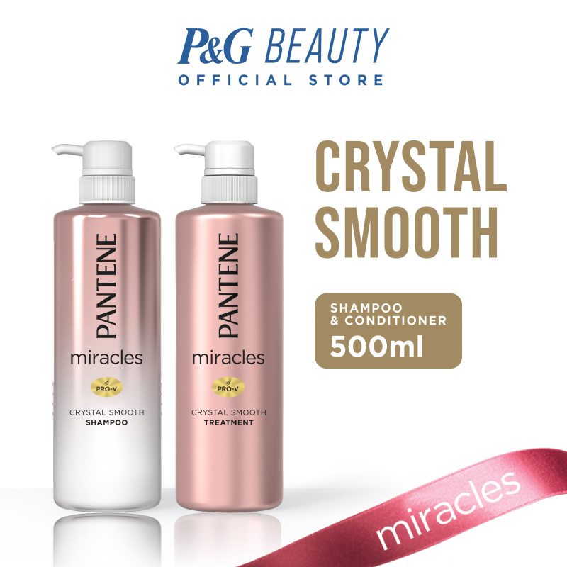 Buy [Bundle of 2] Pantene Miracles Crystal Smooth Shampoo 500ml + Conditioner 500ml Singapore