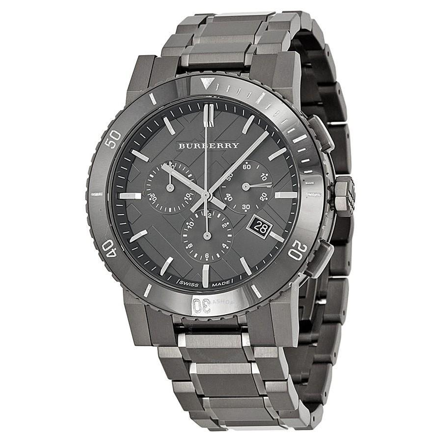5d8dbd31d915 Burberry BU9381 Chronograph Gunmetal Dial Grey Ion-plated Stainless Steel  Men s Watch