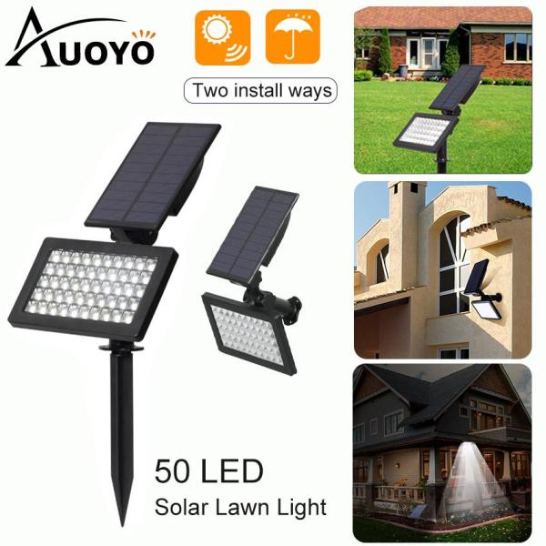 Auoyo Solar Light Outdoor Lighting 50 LED Solar Spotlights Lawn Lamp Light IP65 Waterproof Security Wall Light with Automatic Opening/Automatic Closing for Garden Yard Driveway