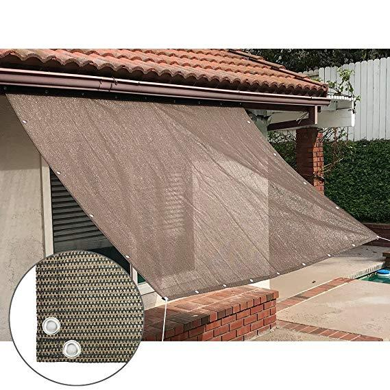 Sun Shade Mesh Canopy Awning Privacy Screen Window Cover Hot Resistant Protection Shelter 90% UV Blocking for Gazebo Patio Garden Outdoor Greenhouse Flower Barn Kennel Fence Brown