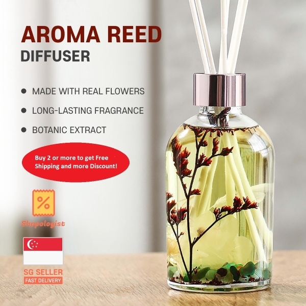 Aroma Reed Diffuser Bottled with Real Flower Extra Large Capacity 220ml Hotel Fragrance Long Lasting Scent Air Purifier Elegant Design