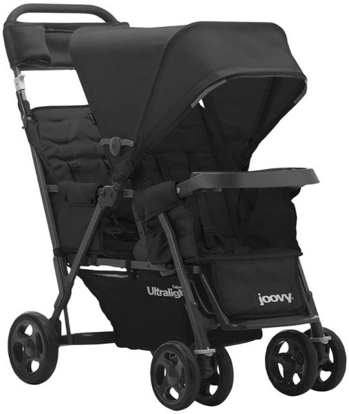 JOOVY Caboose Too Ultralight Graphite Stand-On Tandem Two 2 Twin Double Child Children Kids Seat Seater Stroller, Black Singapore