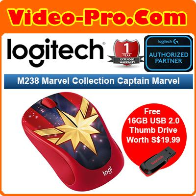 [Free 16GB Thumb Drive] Logitech M238 Marvel Collection Wireless Mouse Spider-Man  /  Iron Man  / Captain America / Black Panther