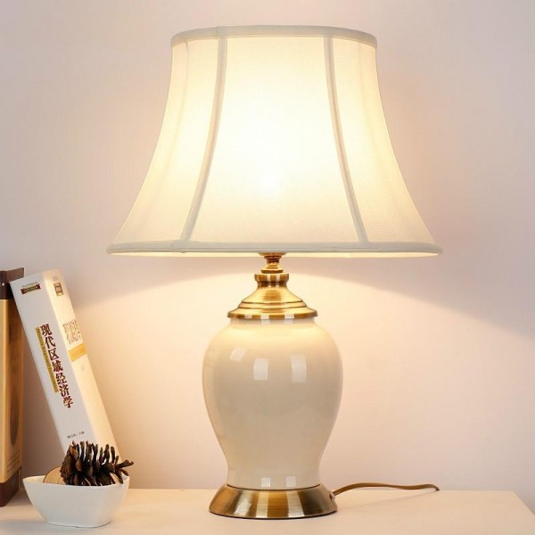 LED Ceramic Bedside Lamp Classical Simplicity Living Room American Style Lamp Bedroom European Style Bedside Lamp Creative Decoration Table Lamp Warm Light Fabric Shade with Bulb (Energy Class A++) - intl