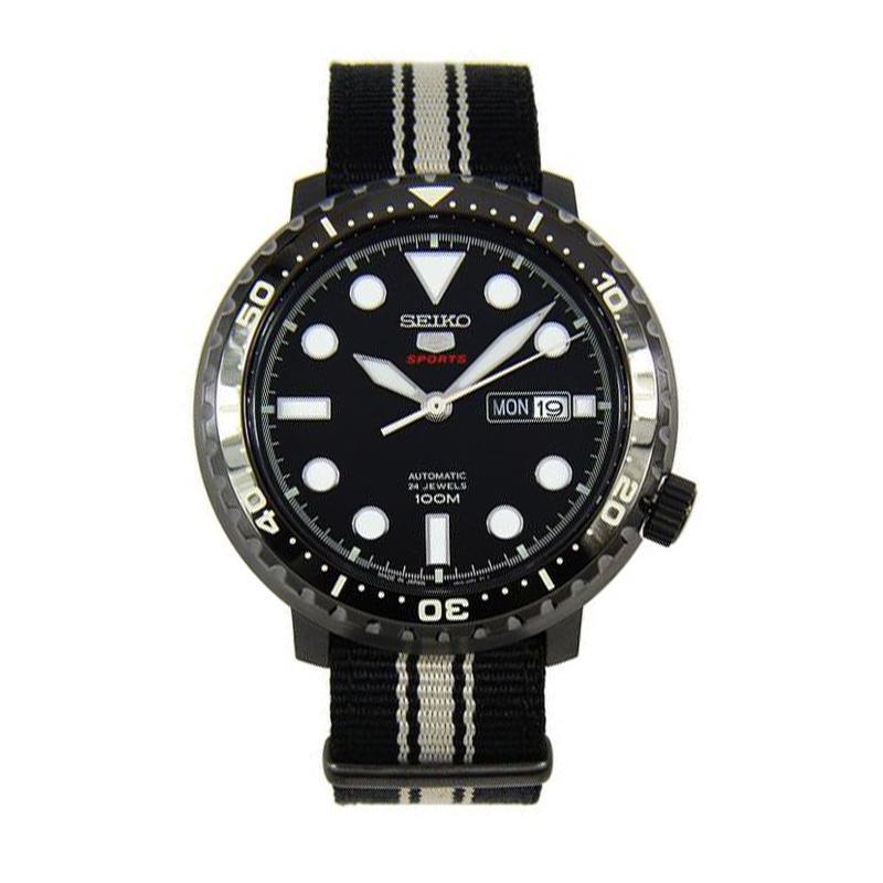 Seiko 5 SRPC67J1 SRPC67J SRPC67 Sports Automatic Analog Black Stripes Band 100M Men's Watch