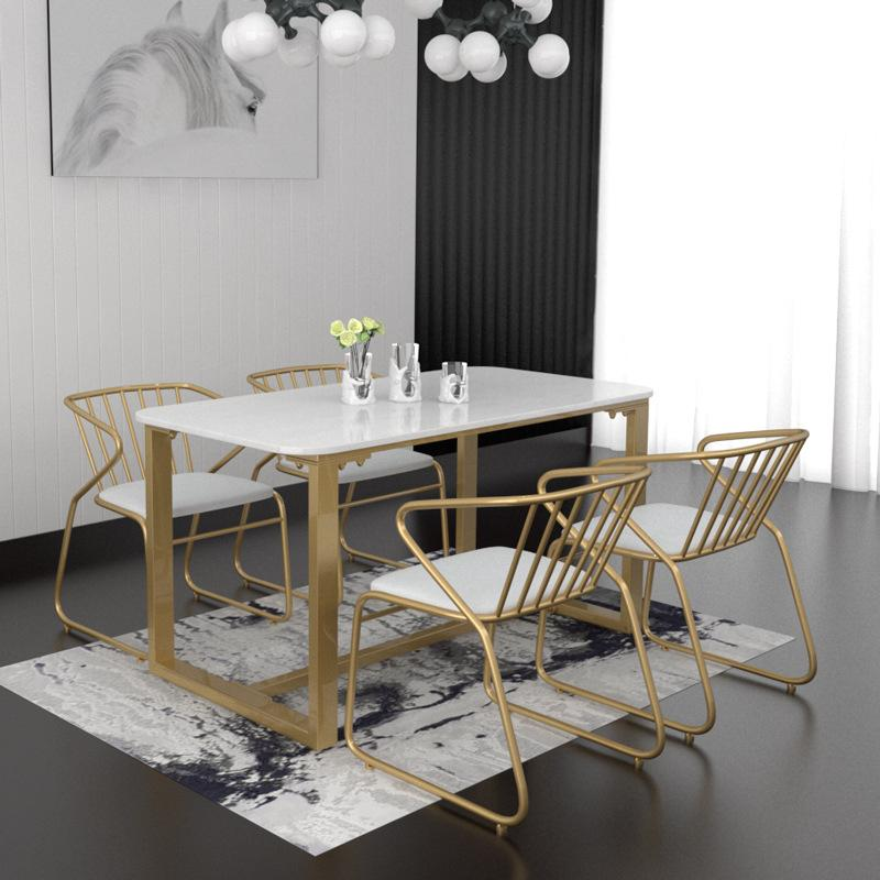 Northern Europe Marble Dining-Table Modern Minimalist Rectangular Small Apartment Home Dining Tables And Chairs Set Dining Table 4-6 People By Taobao Collection.