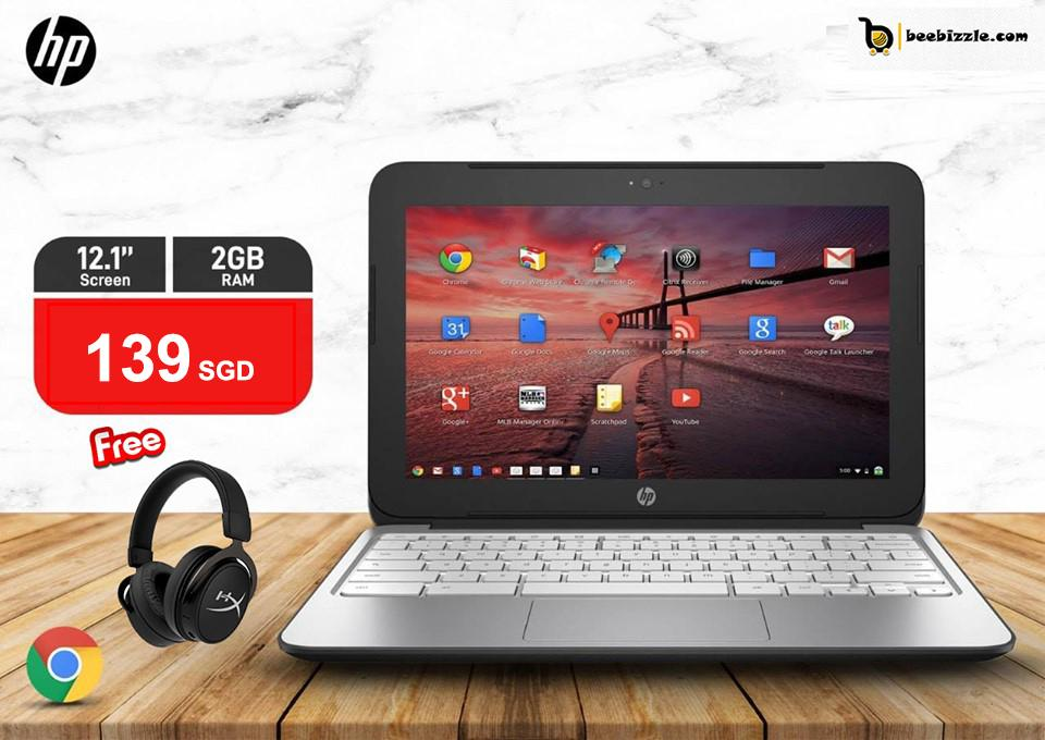 HP Chromebook 11 G2, (Refabricated)HD LED 11 inch Display, 2GB RAM, Intel Celeron Processor, 16GB SSD, Memory Card Slot, OS Google Chrome PLUS WIRELESS MOUSE PLUS MULTIMEDIA HEADSET AND MORE