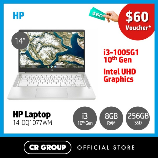 [Same Day Delivery] HP Laptop 14-DQ1077WM 14 FHD | 10th Gen i3-1005G1 | 8GB DDR4 RAM | 256GB PCle SSD | Intel UHD Graphics