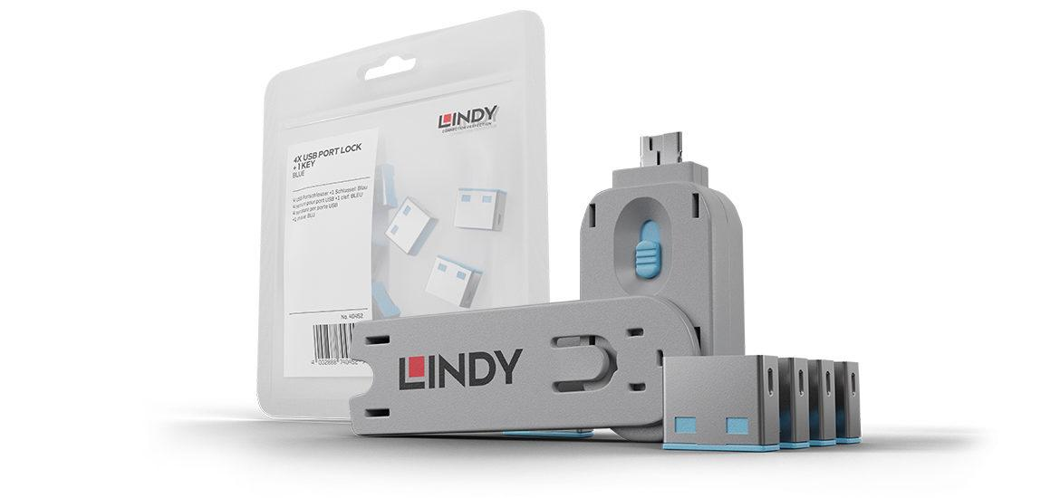 Lindy (GERMANY) USB type A Port Blocker - Pack of 1 key + 4 blocker, Colour Code: Blue No. 40452