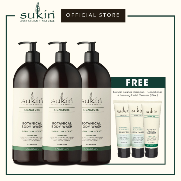 Buy Sukin Botanical Body Wash (1L x 3) + Natural Balance Shampoo (50ml) + Natural Balance Conditioner (50ml) + Foaming Facial Cleanser (50ml) Singapore