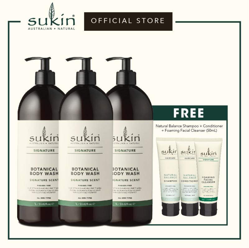 Buy Sukin Botanical Body Wash (1L x 3) + Natural Balance Shampoo (50ml) + Natural Balance Conditioner (50ml) + Foaming Facial Cleanser (50ml) Singapore