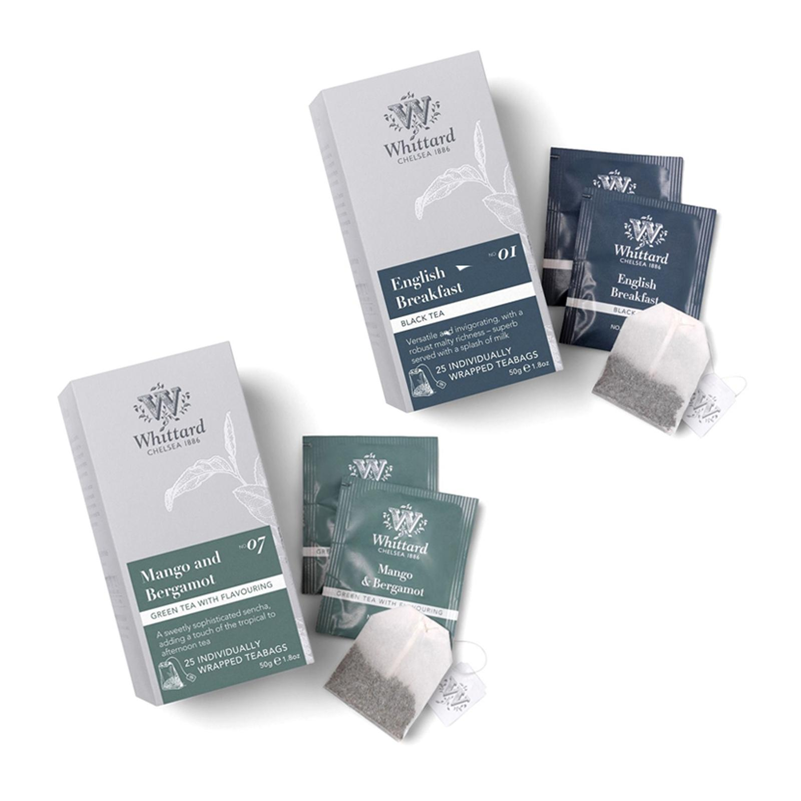 Whittard English Breakfast and Mango And Bergamot 25 Individually Wrapped Teabags