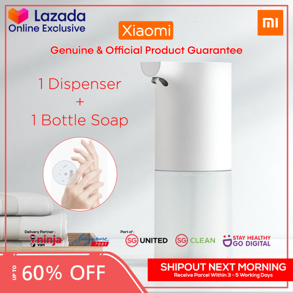 Buy NEW IMPROVED 2020 Xiaomi Mijia Automatic Hand Soap Dispenser Hands Free Sanitizer Wash with Touchless IR Infrared Auto Sensor Liquid Soap Container Holder Toilet Bathroom Kitchen 320ml Bottle Refill Bottle Amino Acid Pink Antibacterial Form White Singapore