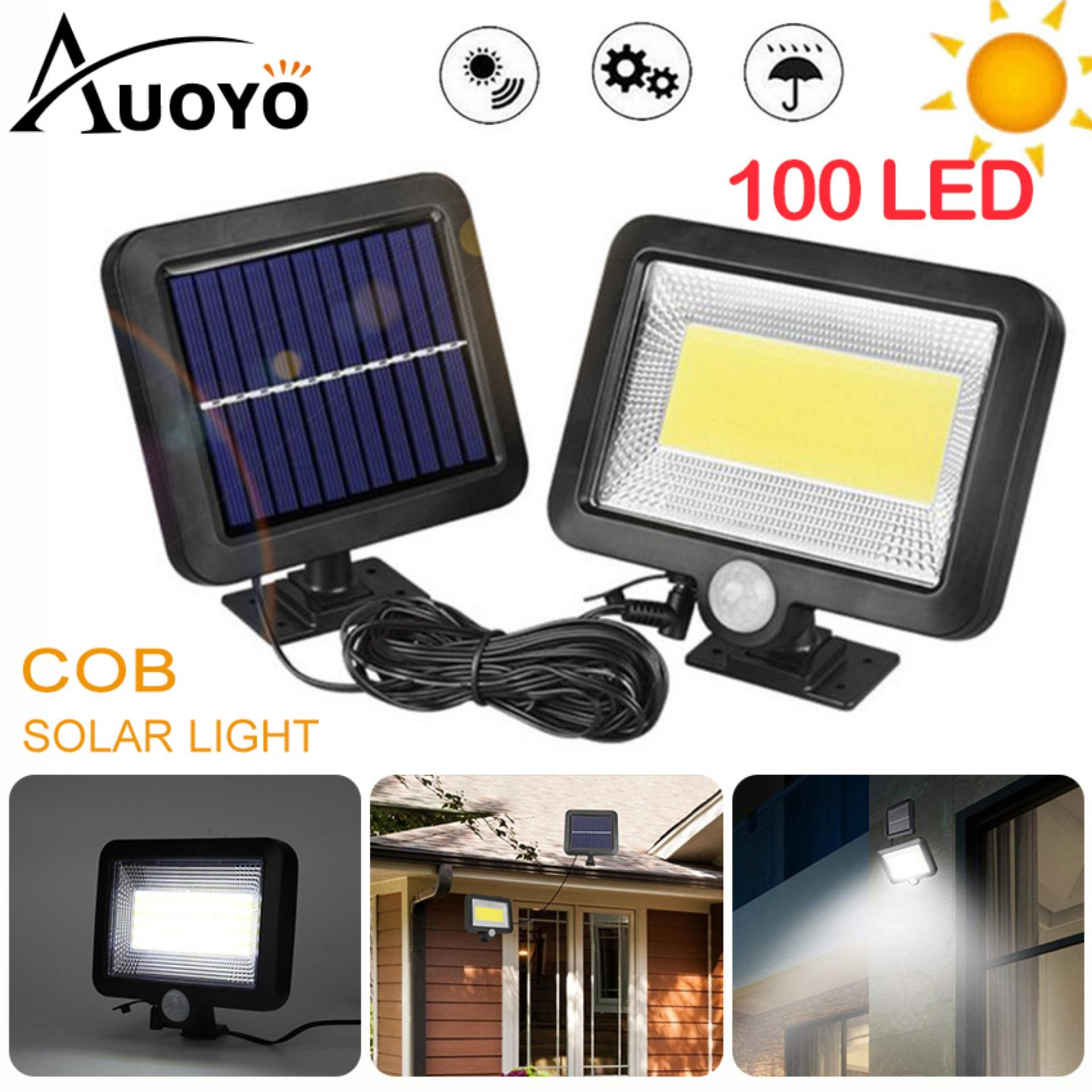 Auoyo 100LED Solar Wall Light Outdoor Lighting Motion Sensor COB LED Solar Light Waterproof Street Lamp Induction Wall Lamp for Garden Courtyard