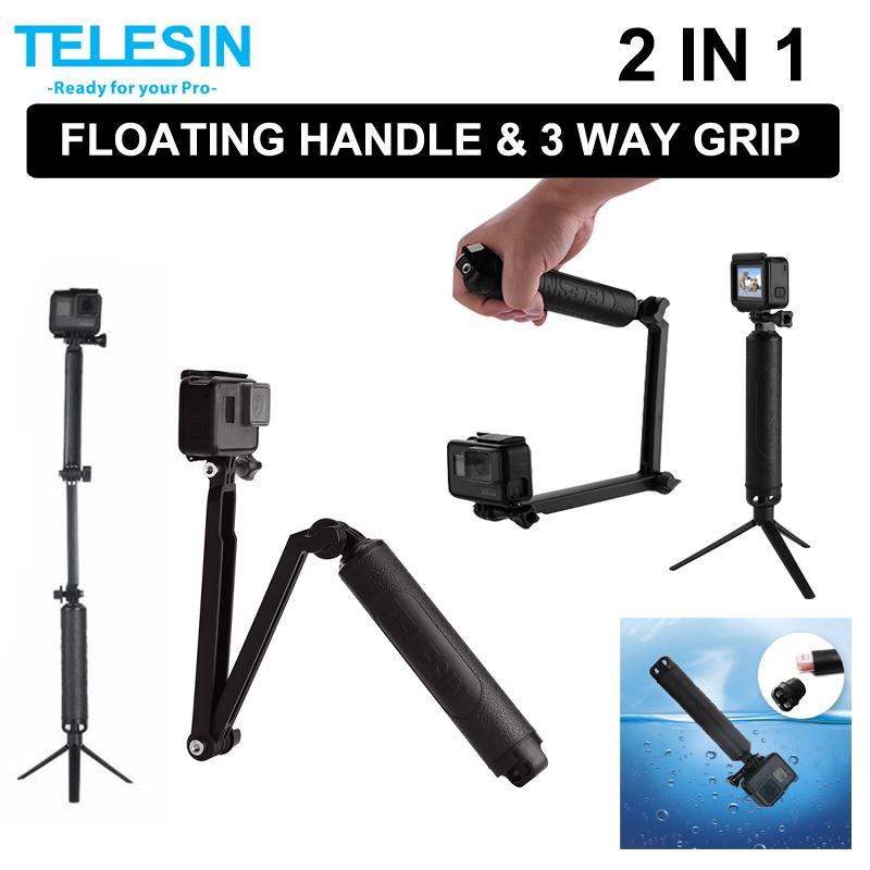 9610d8458777af Telesin Waterproof 3 Way Selfie Floating Hand Grip Selfie Stick Monopod  Pole Tripod For Gopro Or