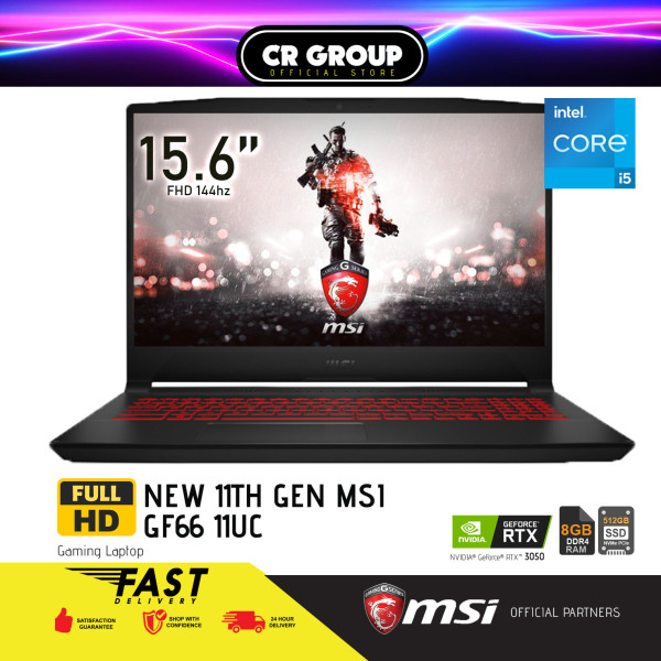 [Same Day Delivery] MSI i5 GF66 Series 144Hz Refresh Rate 15.6 Full HD Gaming Laptop GF66 11UC | 11th Gen  i5-11400H+HM570 | 8GB RAM | 512GB SSD | NVIDIA Geforce RTX 3050