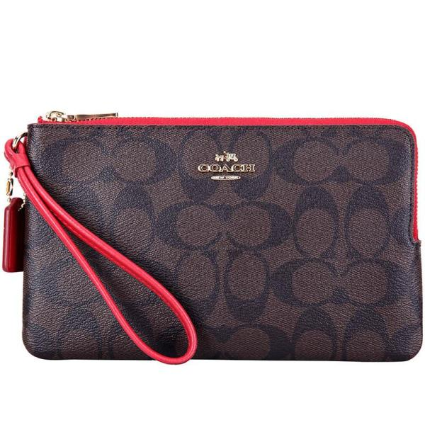 Coach Double Zip Wallet In Signature Canvas Wristlet Brown / True Red / Gold # F16109 + Gift Receipt