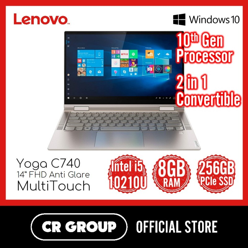 Lenovo Yoga C740 14 Inch Touchscreen   Intel Core i5-10210U   8GB DDR4 RAM   256GB PCle SSD   2 in 1 Convertible