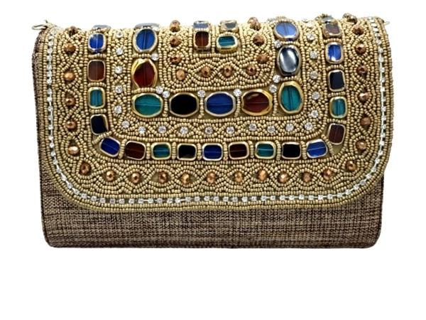 Handmade Stones & Beads Evening Clutch Bag - Elle