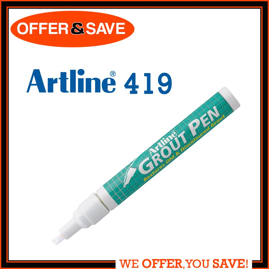 Artline Grout Magic Whitening Pen Marker For Kitchen, Bathroom & Floor Tiles - White (restores Old & Discoloured Grout) By Offer & Save.