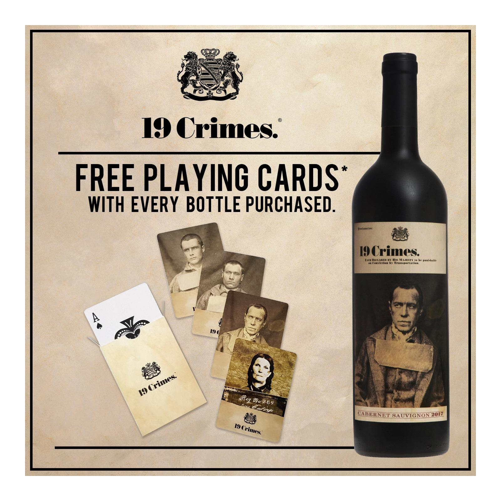 19 Crimes Cabernet Sauvignon Smooth Red Wine with Free Playing Cards*